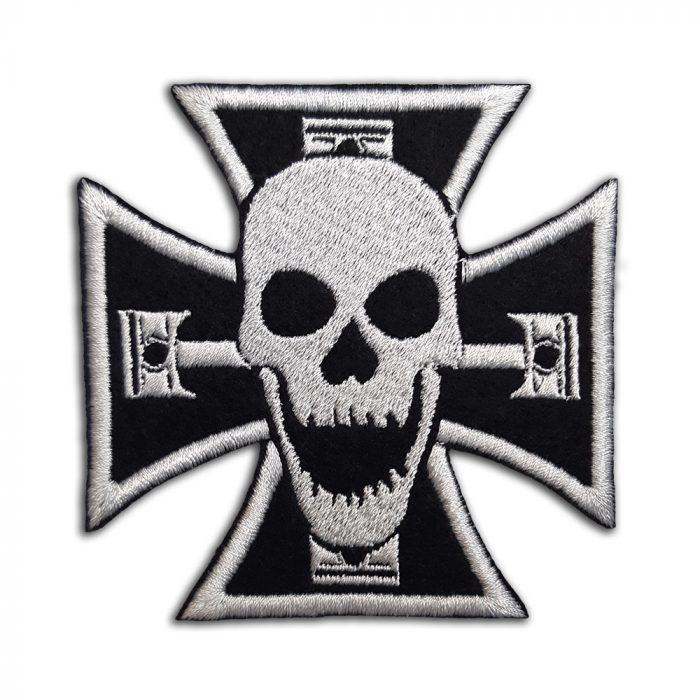Biker cross, skull, pistons patch