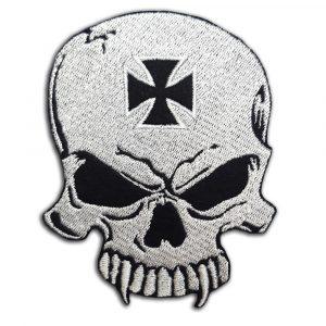 Skull with biker cross patch