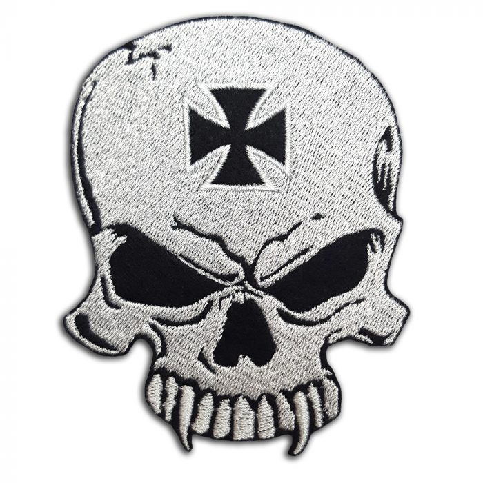Skull with biker cross patch