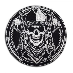 Cowboy skeleton with revolvers patch