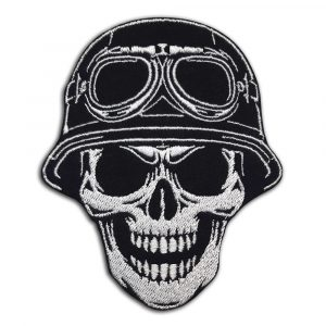 Skull in helmet with glasses patch