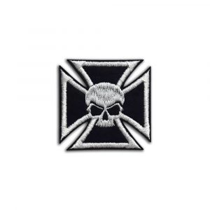 Biker cross with skull small patch