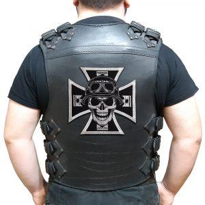 Biker cross, skull, pistons large back patch
