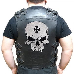 Skull with biker cross large back patch