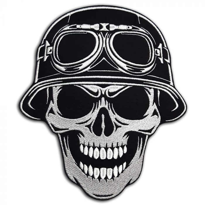 Skull in helmet with glasses large back patch