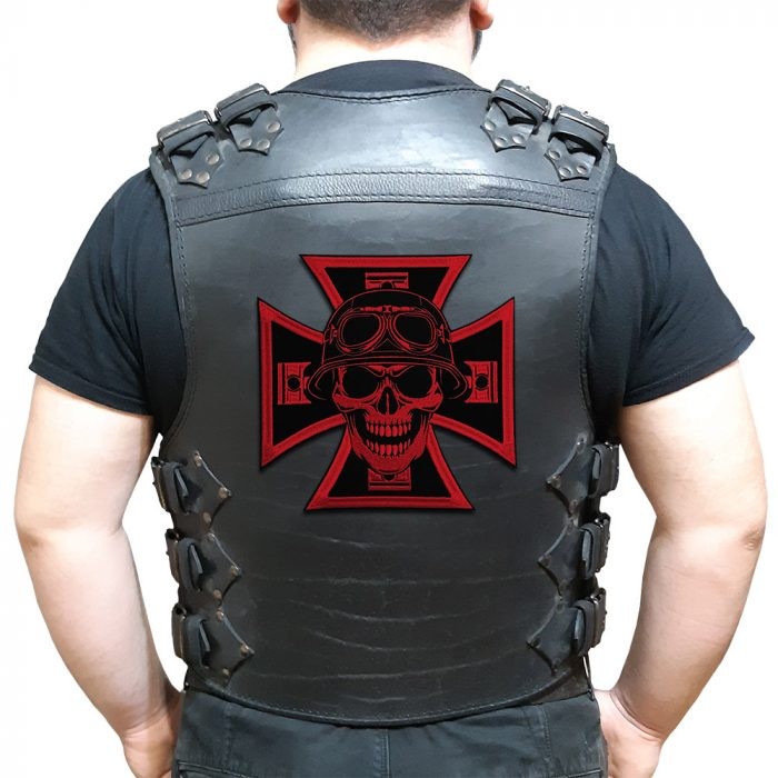 Biker cross, skull, pistons large back patch